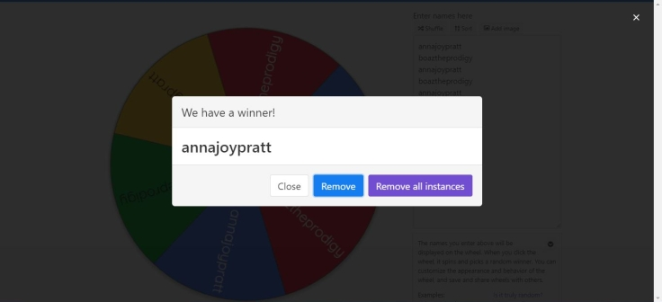 Random Name Wheel for RFtS 2 Year Giveaway
